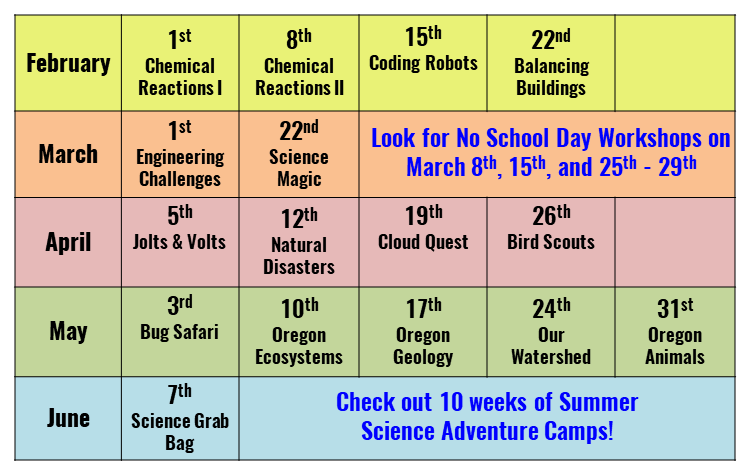 Science After School Schedule and Calendar